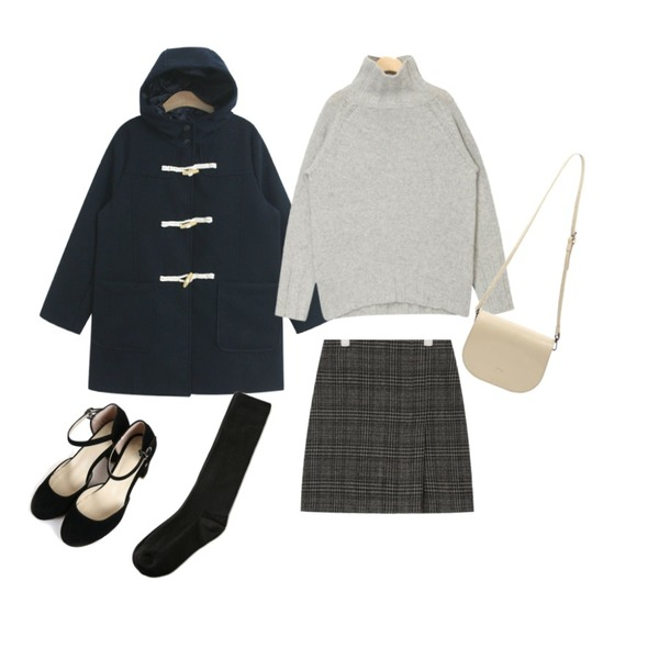AIN issue turtle neck wool knit,TODAY ME [coat]데니스 코트(후드 더플 교복 떡볶이 코트),AIN pet name slit check skirt (s, m)등을 매치한 코디