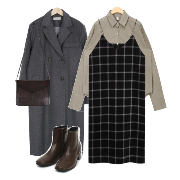 AIN peach simple cuffs shirts,From Beginning Made_outer-100_wool double coat_B (size : free),From Beginning Check corduroy slip ops_H (size : free)등을 매치한 코디