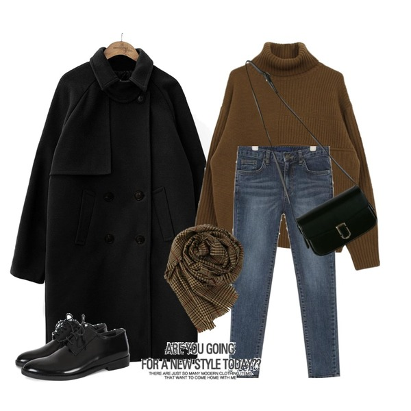 biznshoe Black mannish loafer,biznshoe Wool turtle knit (4color),common unique [OUTER] ROSIE RAGLAN DOUBLE COAT등을 매치한 코디