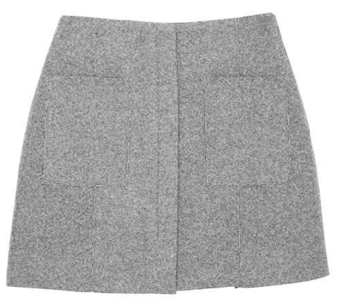 Two-pocket woolen skirt