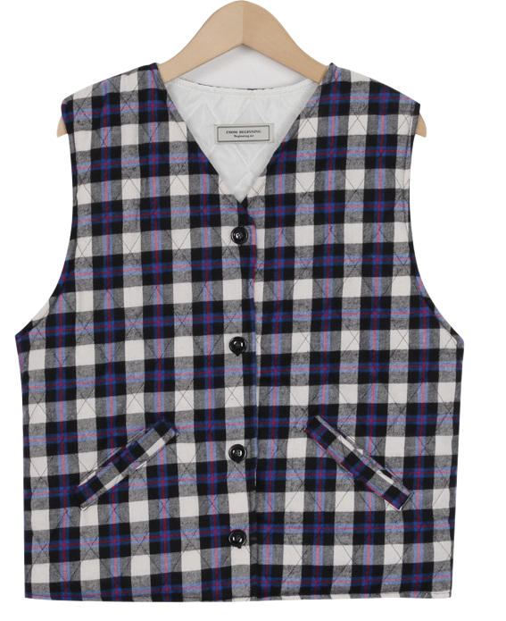 Made_outer-102_check padding vest_M (size : free)