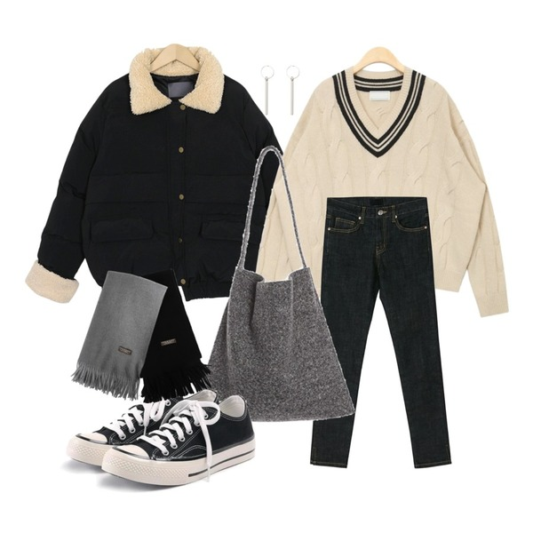 AIN twist v-neck lambswool knit,BANHARU slim line napping skinny,From Beginning Mini dumble wellon jumper_S (size : free)등을 매치한 코디