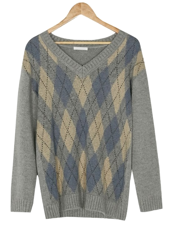 daily v-neck argyle wool knit