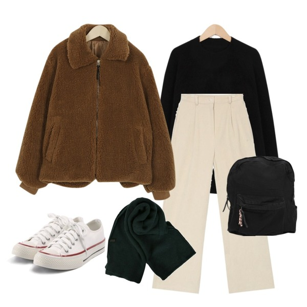 AIN paul corduroy wide pants (s, m),From Beginning Saint basic knit_S (size : free),From Beginning Furry short jumper_M (size : free)등을 매치한 코디