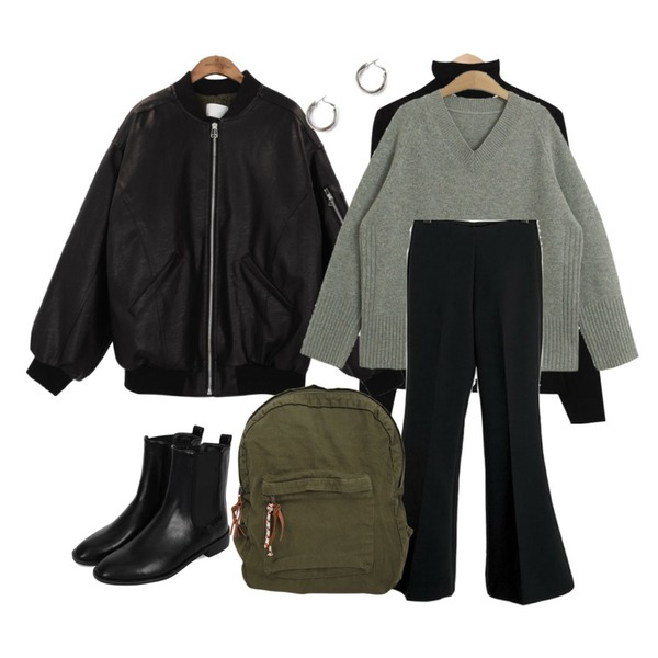 common unique [OUTER] DUMBLE LEATHER BOMBER JUMPER,From Beginning Cutting wool inner T_K (size : free),biznshoe Banding ankle boots등을 매치한 코디
