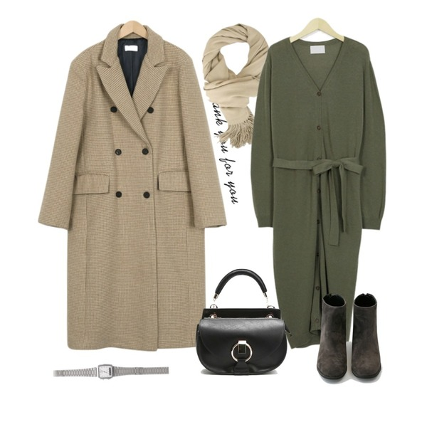 Untitled,Zemma World Falling-머플러,From Beginning High-end check double coat_S (size : free)등을 매치한 코디
