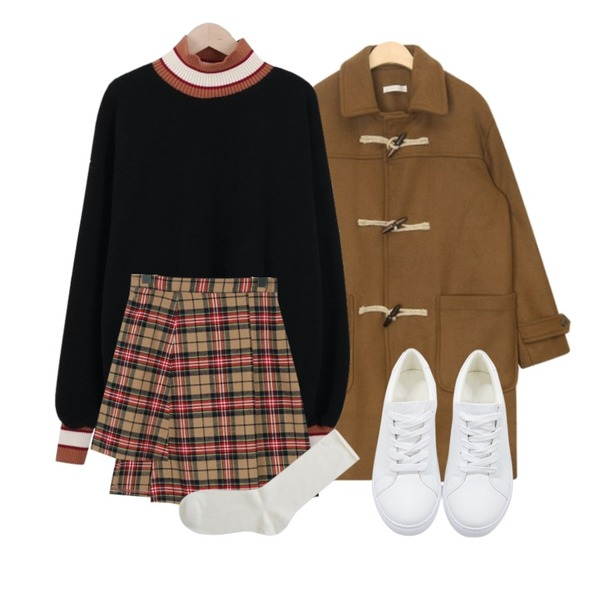 AIN plait daily wool duffel coat,From Beginning Made_bottom-142_unbal check skirt_M (size : S,M),myblin 하이넥 보아 맨투맨 (3color)등을 매치한 코디