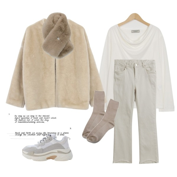 Untitled,From Beginning Made_top-191_wrinkle boat neck T (size : free),biznshoe Non collar fur jacket (2color)등을 매치한 코디