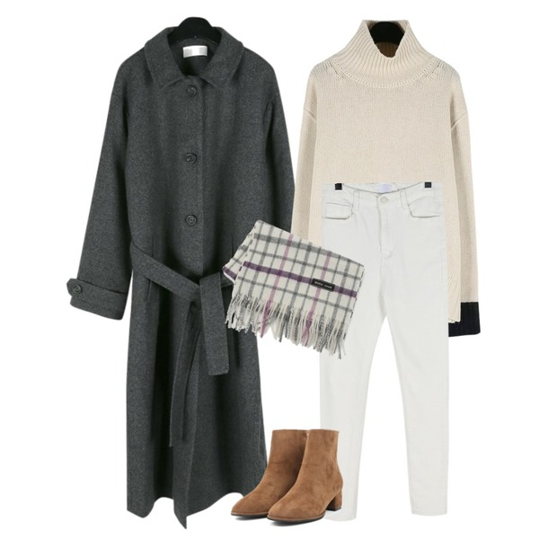 daily monday Maxi over long coat,daily monday Sleeve point turtle knit,daily monday Basic comfort skinny등을 매치한 코디
