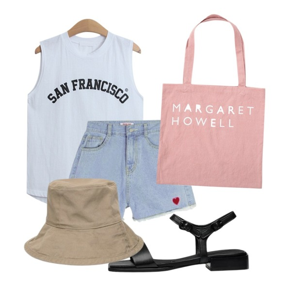 From Beginning Howell lettering eco bag_Y (size : one),MIXXMIX Heart club 16SS Heart Denim Shorts,TODAY ME 다비드 나시티등을 매치한 코디