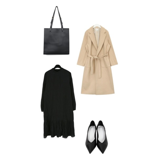 From Beginning Stiletto low heel_B (size : 230,235,240,245,250),AIN FRESH A wool long strap coat,daily monday Elegant crease dress등을 매치한 코디