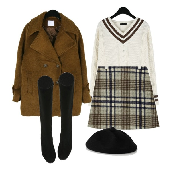 daily monday V-neck point cable knit,daily monday Cozy half double coat,AIN apple check skirt (s, m)등을 매치한 코디