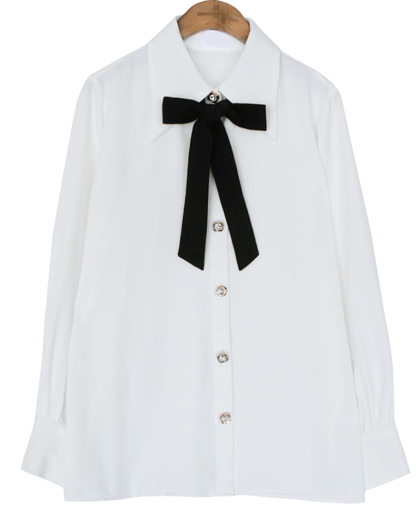 JEWELRY BUTTON TIE CHIFFON BLOUSE
