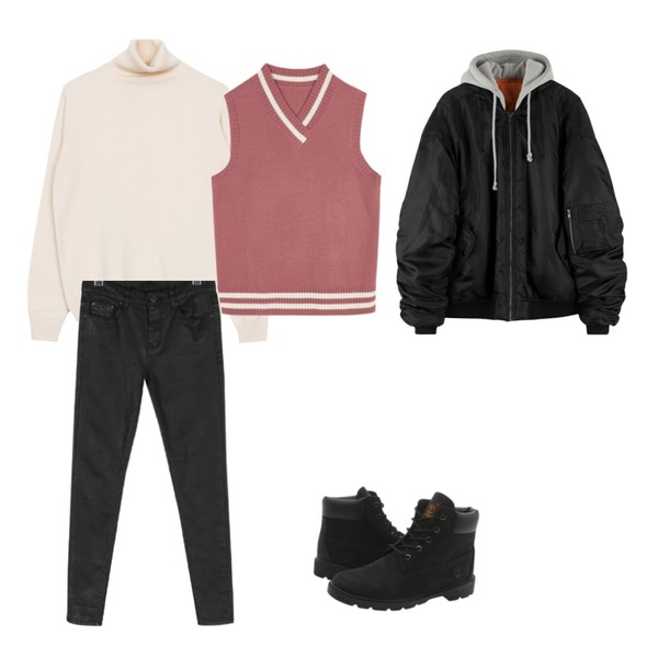 Player 팀버랜드 클래식 부츠 블랙 (TIMBERLAND CLASSIC),biznshoe Color turtle-neck knit (4color),daily monday Coating napping skinny등을 매치한 코디