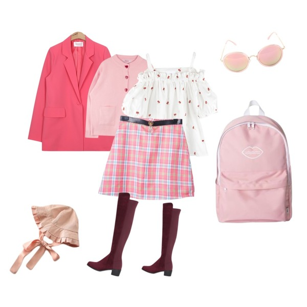 AIN spring color jacket (4 colors),ABLY 오나의여신 블라우스,MIXXMIX Heart Button Cardigan (Pink)등을 매치한 코디