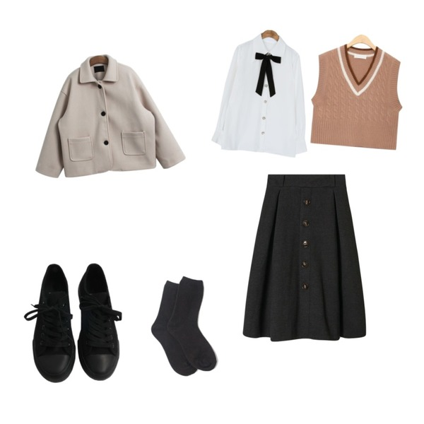 PINKLIP 윈터 데일리 울삭스,AIN color line twist wool vest,common unique [TOP] JEWELRY BUTTON TIE CHIFFON BLOUSE등을 매치한 코디