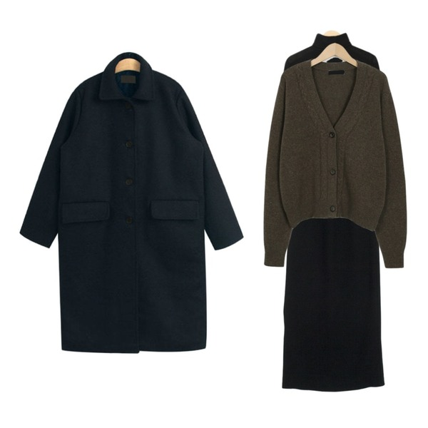 From Beginning Cookie button wool cardigan_S (size : free),about moon 옆트임 니트 스커트 (3 color) - wool 50%,AIN lucy polar T등을 매치한 코디