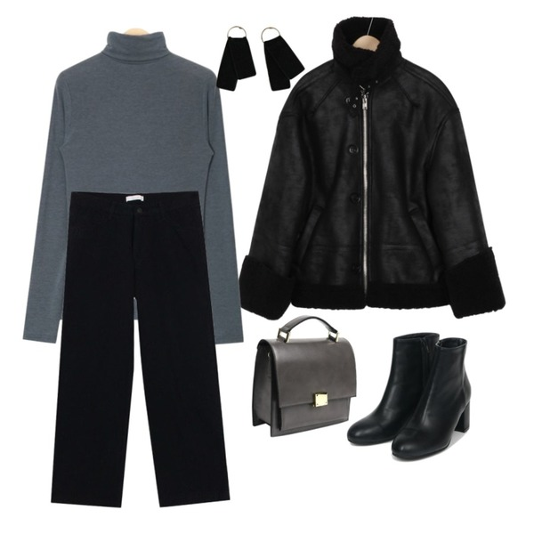 From Beginning High-end button mustang_B (size : free),AIN lucy polar T,biznshoe Winter cotton pants (2color)등을 매치한 코디