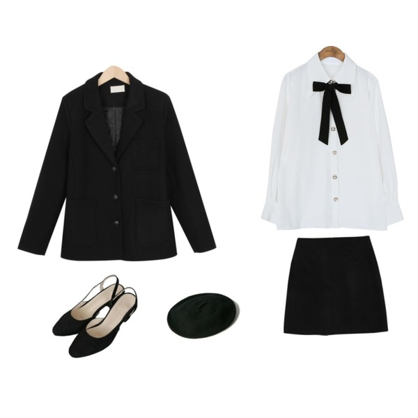From Beginning Quilting single wool jacket_M (size : free),AWAB 아로나스커트,common unique [TOP] JEWELRY BUTTON TIE CHIFFON BLOUSE등을 매치한 코디