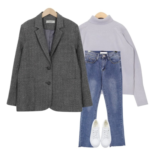 From Beginning Made_outer-090_herringbone wool jacket (size : free),AIN pastel long sleeve polar knit,common unique [BOTTOM] STRAIGHT CUTTING DENIM PANTS등을 매치한 코디