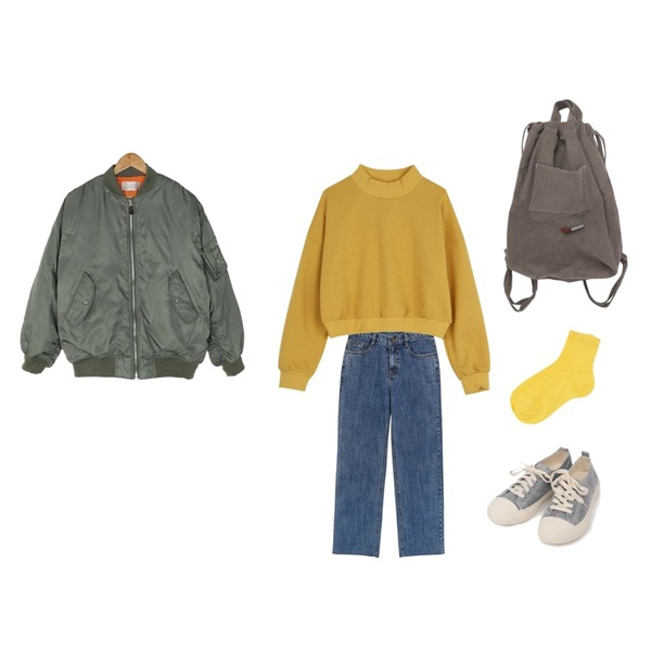 AIN all day suede sneakers (230-250),common unique [BOTTOM] VINTAGE HIGH DENIM PANTS,ABLY 크롭반폴라 맨투맨등을 매치한 코디