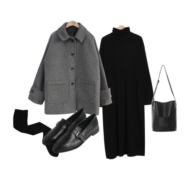 Dailyco 압박스타킹,common unique [OUTER] BIG POCKET WOOL COAT,From Beginning Warm pola basic ops_H (size : free)등을 매치한 코디