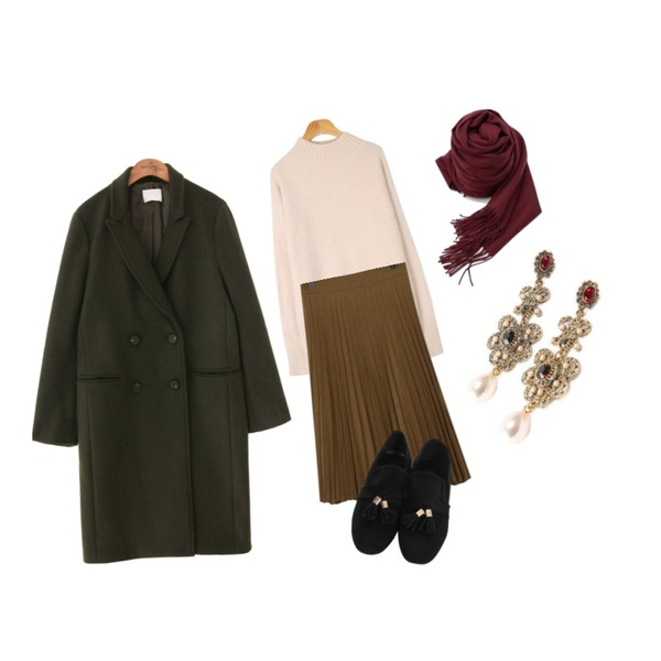 common unique [OUTER] WOOL DOUDLE BUTTON COAT,MESMIN 도브 베이직 앙고라 니트 (6color),From Beginning Winter pleats skirt_K (size : free)등을 매치한 코디