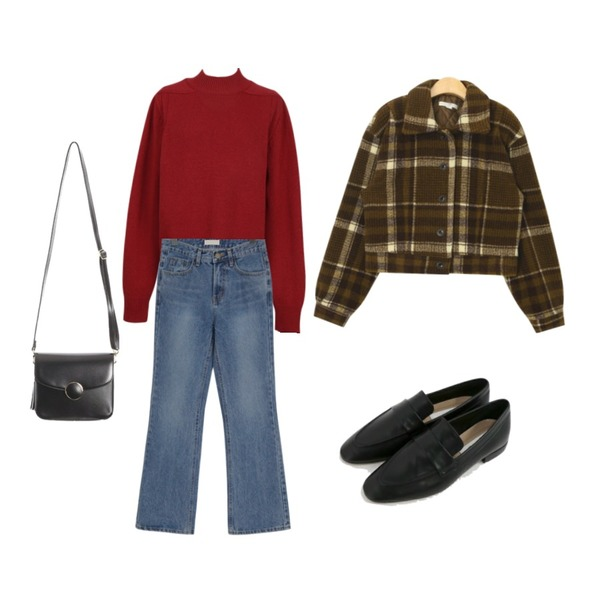 From Beginning Low semi boots washing jean_B (size : S,M,L),From Beginning Flat shoulder wool knit_K (size : free),AIN sleeky unusual check jacket등을 매치한 코디