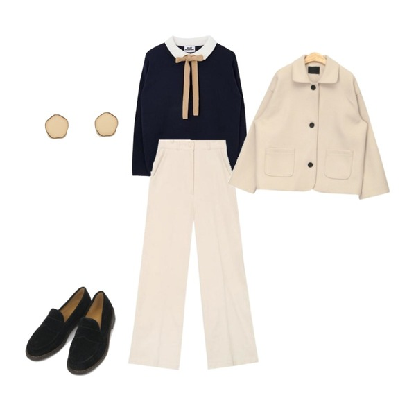 AIN round detail collar jacket,AIN bubbly corduroy wide pants (s, m),MIXXMIX 모모 리본 니트등을 매치한 코디