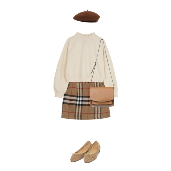 From Beginning London check mini skirt_K (size : S,M),ABLY 크롭반폴라 맨투맨,AIN square pocket shoulder bag등을 매치한 코디