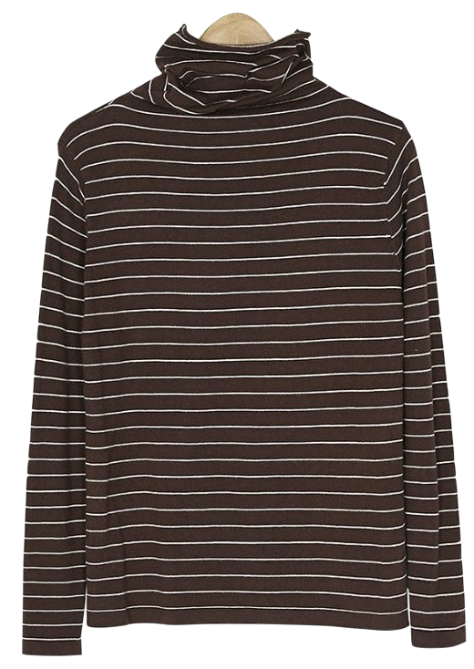 many stripe turtleneck knit