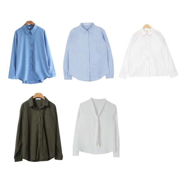 MIXXMIX 앨빈 옥스포드 셔츠,common unique [TOP] SILKY BACK CROSS COVER BLOUSE,AIN refresh basic shirts등을 매치한 코디