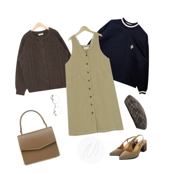 From Beginning Reversible overall ops_M (size : free),GIRLS RULE 하이넥 배색 P 맨투맨 (t4041),AIN bean button cable wool cardigan등을 매치한 코디
