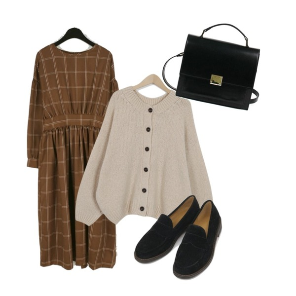 daily monday Pie check one-piece,From Beginning Cozy balloon knit & cardigan_B (size : free),AIN round front loafer (225-250)등을 매치한 코디