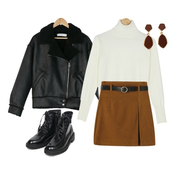 Reine 피트 랩 미니스커트 (벨트세트),BANHARU esther fake fur rider mustang,BANHARU daily soft turtleneck knit등을 매치한 코디