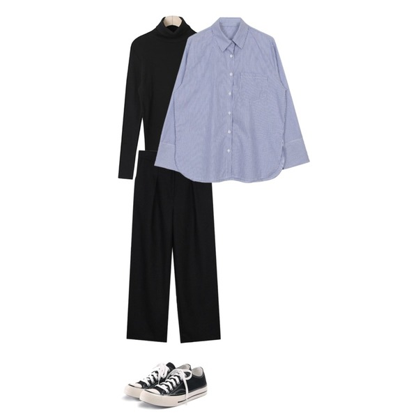 biznshoe Thin stripe shirts (2color),BLINGIT 데일리목폴라,biznshoe Wide long slacks (3color)등을 매치한 코디