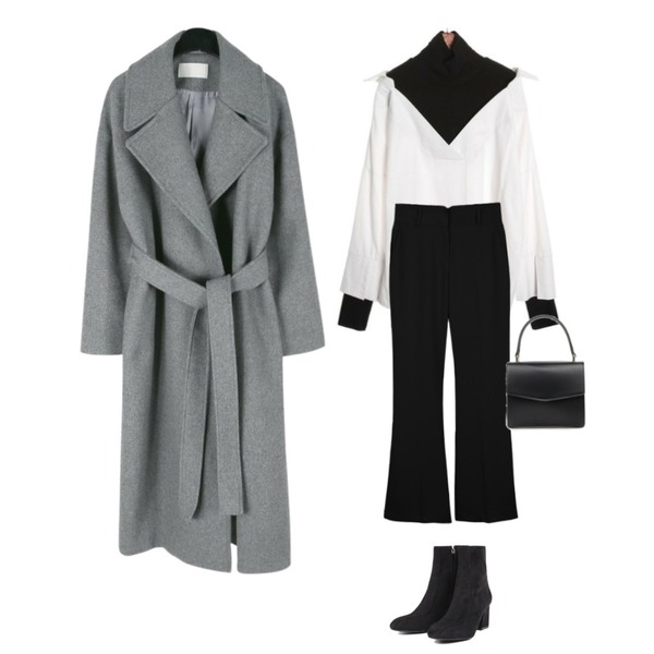 daily monday Simple boots cut slacks,ROCOSIX cree pitch NB,daily monday Wide collar belted wool coat등을 매치한 코디
