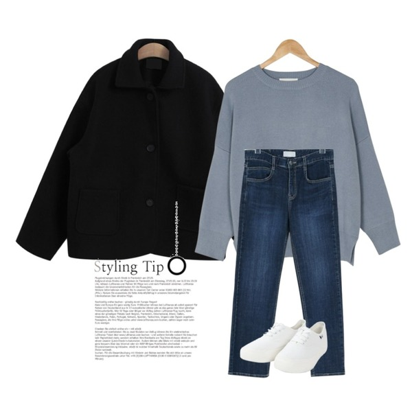 TODAY ME [coat]하더 코트(울 카라 포켓 미니 숏 자켓 코트),daily monday Straight dark denim pants,BANHARU choco roose fit round knit등을 매치한 코디