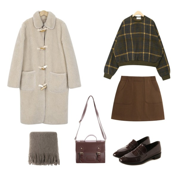 From Beginning Melting dumble duffle coat_S (size : free),TODAY ME [skirt]홀리 스커트(울 포켓 겨울 베이직 미니sk),AIN stay with check knit등을 매치한 코디