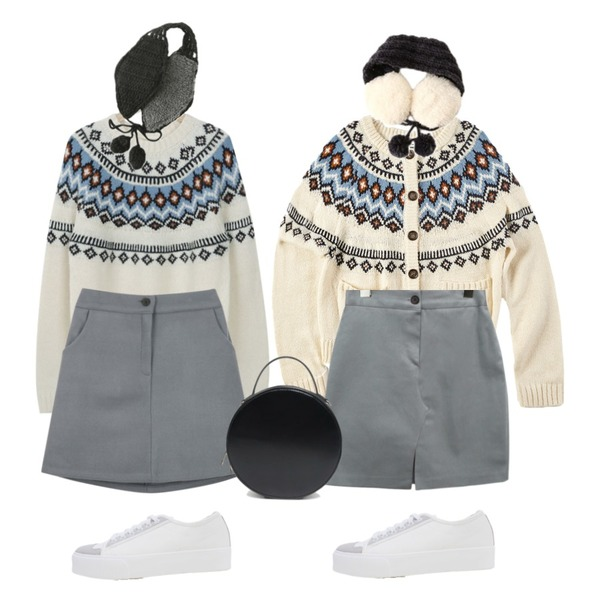 common unique [SKIRT] MODERN SLIT BANDING SKIRT,myblin 에스닉 패턴 니트 (3color),IHRER SHAPE INDIAN PATTERN CARDIGAN IVORY등을 매치한 코디