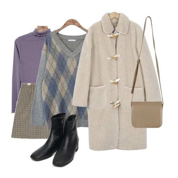 AIN lovey hound tooth check wool skirt,Zemma World Lingo-터틀티셔츠[size:44~66 / 5color],common unique [TOP] WOOL CREAMY AGAIL V NECK KNIT등을 매치한 코디
