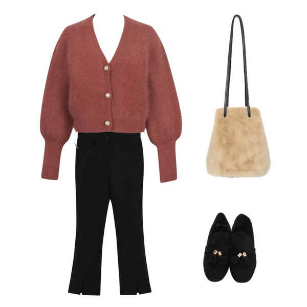 From Beginning Made_bottom-126_SSS boots cut (Secret banding ) (size : S,M,L),From Beginning Vintage button angora cardigan_S (size : free),From Beginning Suede tassel flat shoes_M (size : 225,230,235,240,245,250)등을 매치한 코디