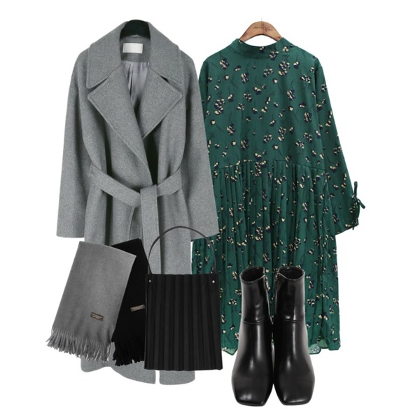 daily monday Wide collar belted wool coat,From Beginning Flip angle toe walker_M (size : 225,230,235,240,245,250),common unique [OPS] ROSE FLOWER CHIFFON PLEATS OPS등을 매치한 코디