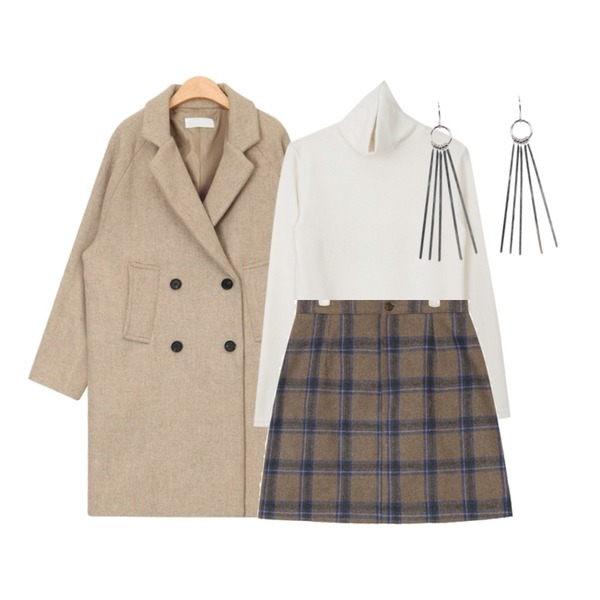 AIN tomboy wear wool coat,myblin 포근포근 폴라 티 (8color),AIN melting check mini skirt (s, m)등을 매치한 코디