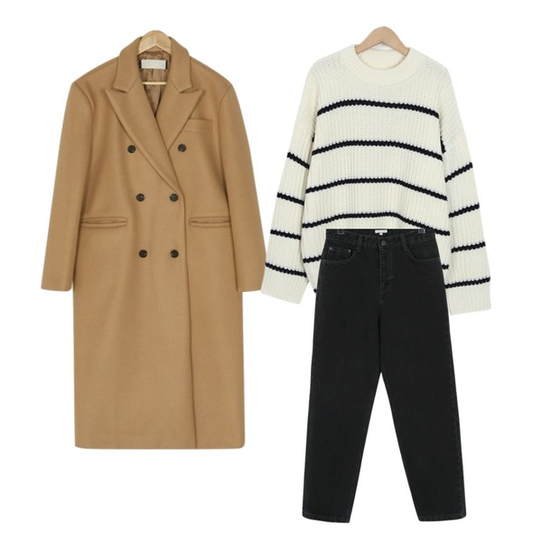 BANHARU classic double button coat,From Beginning Gram charcoal boy jean_S (size : S,M),From Beginning Rolly stripe fisher knit_S (size : free)등을 매치한 코디