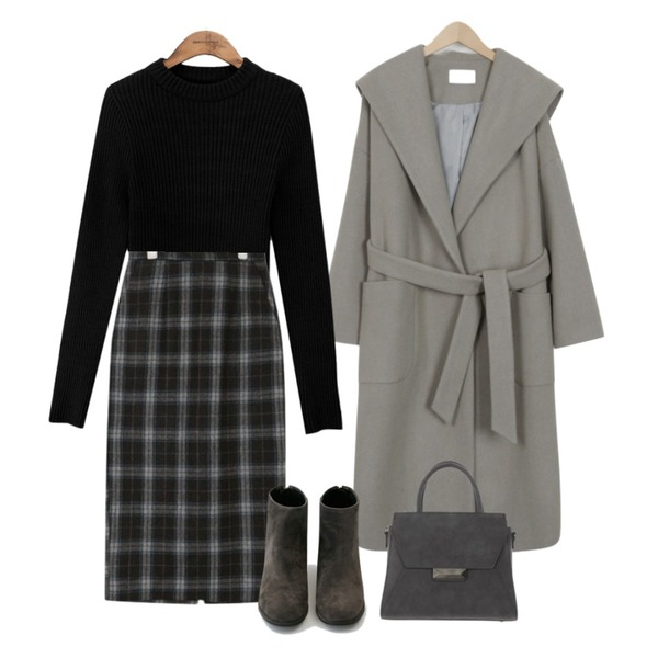From Beginning Hoody wrap wool coat_B (size : free),AIN unusual wool midi skirt (s, m),common unique [TOP] 6 COLOR HALF NECK GOLGI KNIT등을 매치한 코디