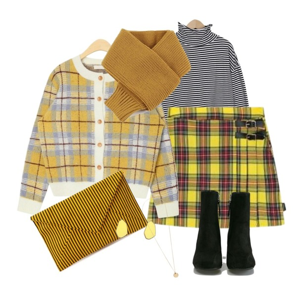 MIXXMIX Lonely Buckle Check Skirt,From Beginning Wide sleeve stripe T_S (size : free),AIN fuzzy minimum cardigan등을 매치한 코디