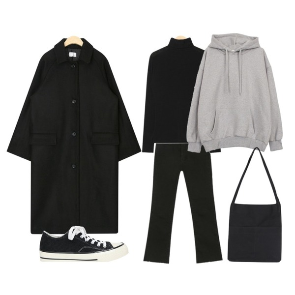 AIN SHALOM semi boots ver.3 (s, m, l),AIN lucy polar T,AIN person wool long coat등을 매치한 코디