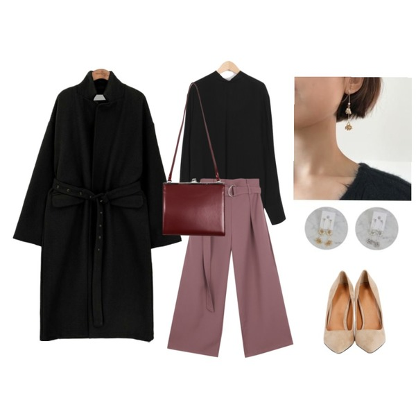 ABLY [한솔 PICK] 엣지 슬랙스_,From Beginning Benjamin tie blouse_H (size : free),common unique [OUTER] WOOL EYELET STRAP LONG COAT등을 매치한 코디