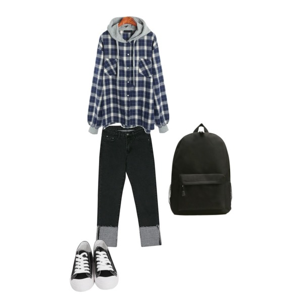 From Beginning Purcell cotton sneakers_M (size : 230,235,240,245,250),ROCOSIX clean hood shirts,BANHARU napping slim roll-up denim pants등을 매치한 코디